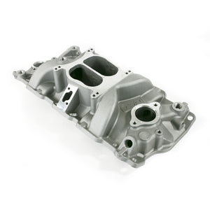 Top Street Performance Intake Manifold - Chevy Small Block Carb. Aluminum Dual Plane, Satin