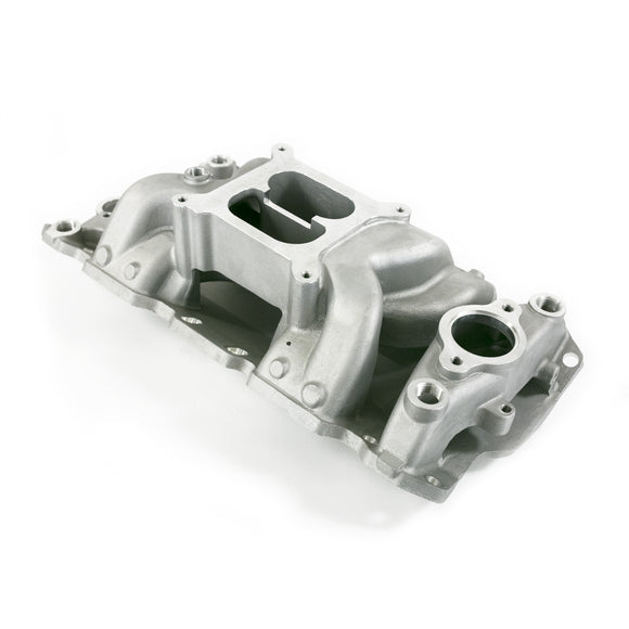 Top Street Performance Intake Manifold - Chevy Small Block Carb. Aluminum Dual Plane Air Gap, Satin