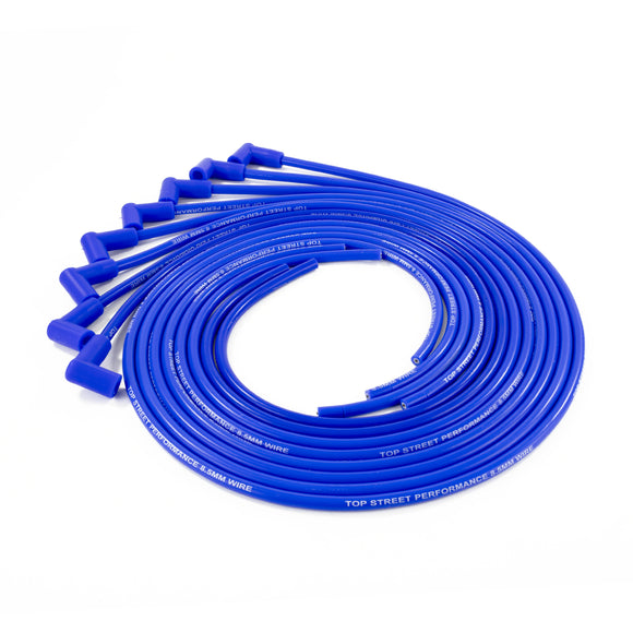 Top Street Performance Universal Ignition Wires - 8.5mm Blue, 90? Plug Boots