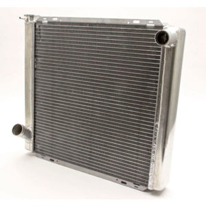 Radiator, 22 in W x 19 in H x 3 in D, Driver Side Inlet, Passenger Side Outlet, Aluminum, Natural, Each