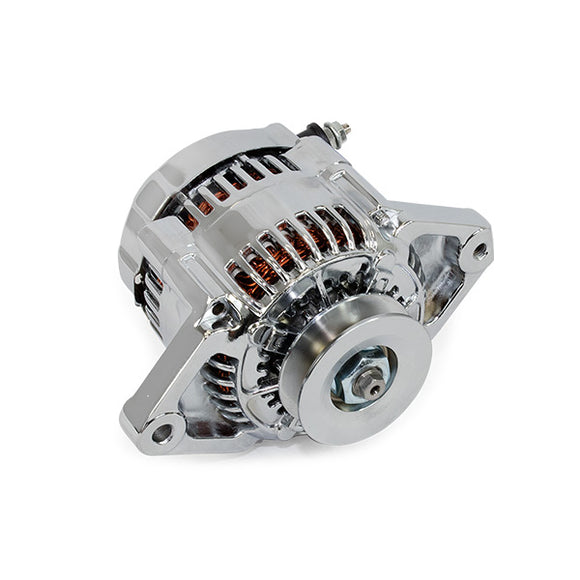 Top Street Performance Alternator - GM Mini Denso Style Race V-Belt 90 Amps, Chrome