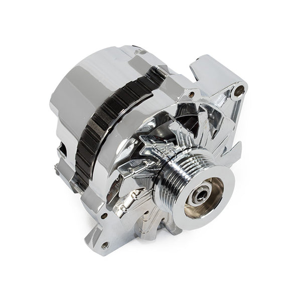 Top Street Performance Alternator - GM CS130 Serpentine Belt 160 Amps, Chrome