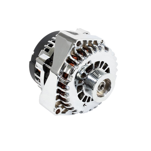 Top Street Performance Alternator - GM AD244 Serpentine Belt 180 Amps, Chrome - LS Truck Engines