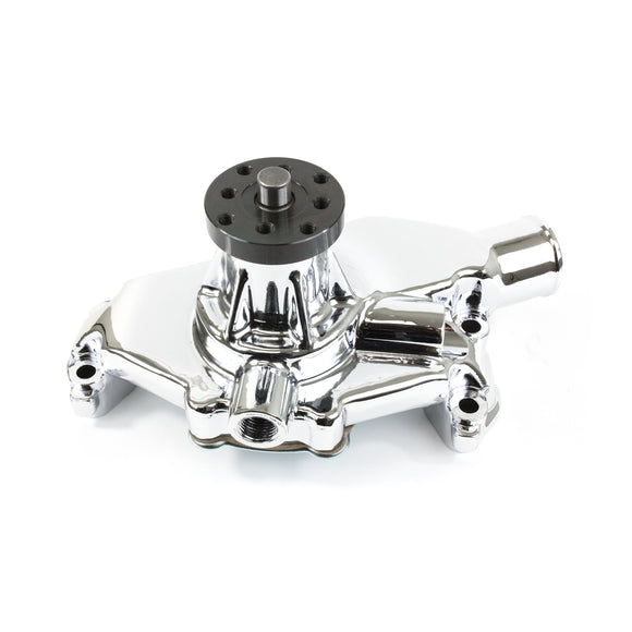 Top Street Performance Mechanical Water Pump - Aluminum, Chrome - Chevrolet SB Short Neck, Reverse