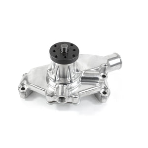 Top Street Performance Mechanical Water Pump - Aluminum, Polished - Chevrolet SB Short Neck, Reverse