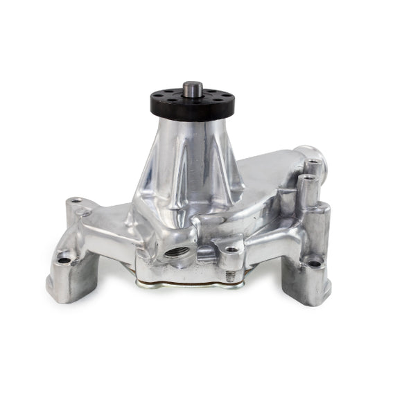 Top Street Performance Mechanical Water Pump - Aluminum, Polished - Chevrolet SB Long Neck, Reverse