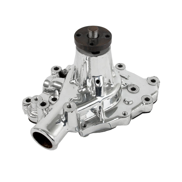 Top Street Performance Mechanical Water Pump - Aluminum, Chrome - SBF (289, 302, 351W) P/S Outlet