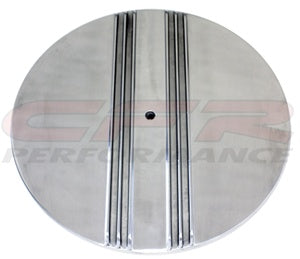 "CHEVY/FORD/MOPAR 14"" ROUND POLISHED ALUMINUM AIR CLEANER TOP - PARTIAL FINNED"