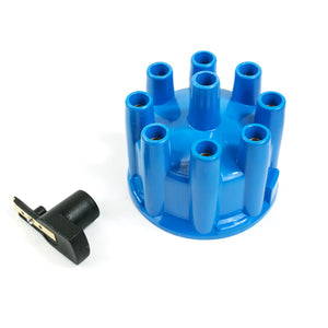 Top Street Performance Pro Billet & Ready to Run Distributor Cap and Rotor Kit - 8 Cyl Female, Blue