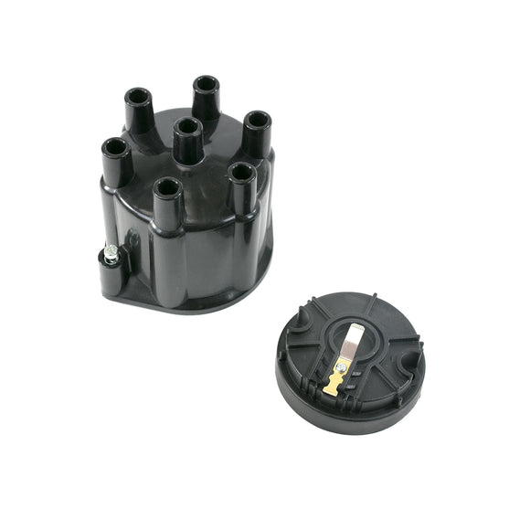 Top Street Performance Pro Series Distributor Cap and Rotor Kit - 6 Cylinder Female, Black