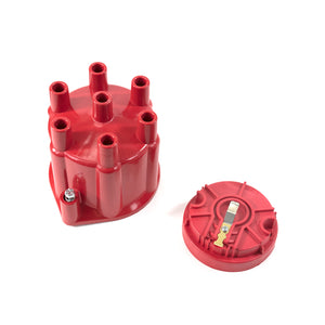 Top Street Performance Pro Series Distributor Cap and Rotor Kit - 6 Cylinder Female, Red