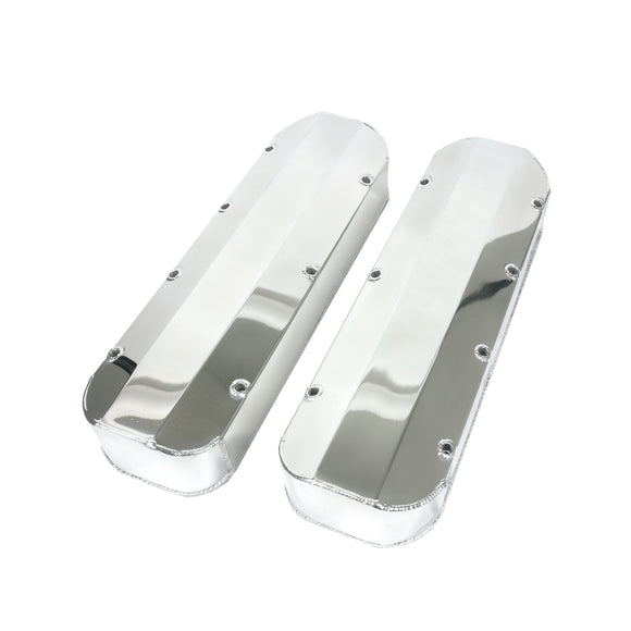 Top Street Performance Valve Covers - Fab. Alum., Long Bolt w/o Holes BBC, Polished