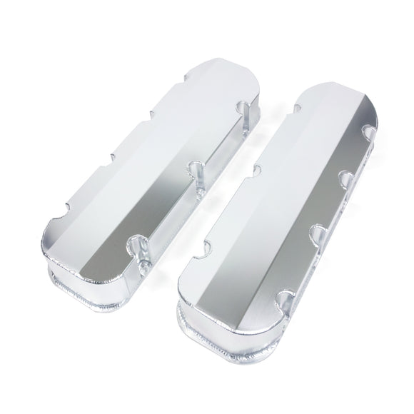 Top Street Performance Valve Covers - Fab. Alum., Short Bolt w/o Holes BBC, Clear Anodized