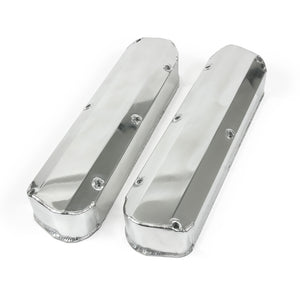 Top Street Performance Valve Covers - Fab. Alum., Long Bolt w/o Holes SBF, Polished