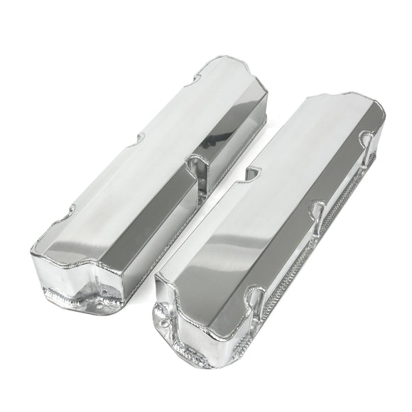 Top Street Performance Valve Covers - Fab. Alum., Short Bolt w/o Holes SBF, Polished
