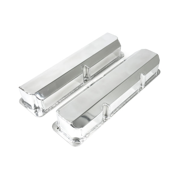 Top Street Performance Valve Covers - Fab. Alum., Short Bolt w/o Holes Ford FE, Clear Anodized