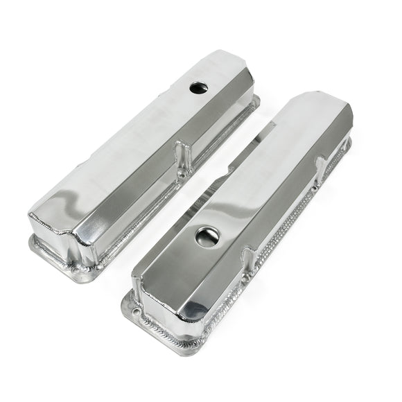 Top Street Performance Valve Covers - Fab. Alum., Short Bolt w/ Holes Ford FE, Polished