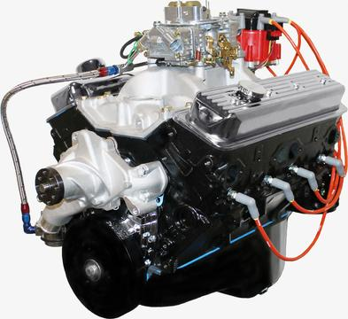 BluePrint Engines 383CI Stroker Crate Engine Small Block GM Style Dressed Longblock with Carburetor