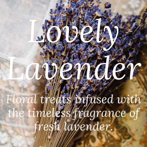 Lovely Lavender Floral treats infused with the timeless fragrance of fresh lavender.