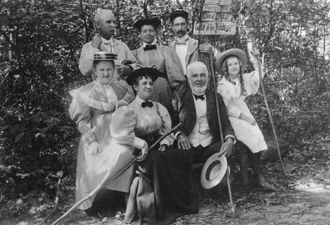 Albert Smiley leading a hike with guests, 1895