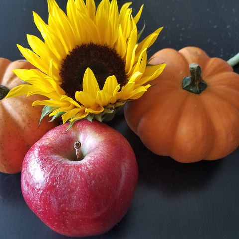 Apples, pumpkins, and sunflowers for gentle fall facial DIY beauty