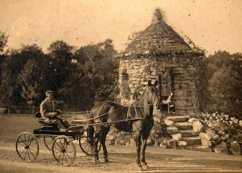 Carriage ride at stone summerhouse at Mohonk Mountain House, circa 1900