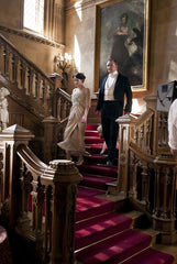 Cast of Downton Abbey PBS series on staircase