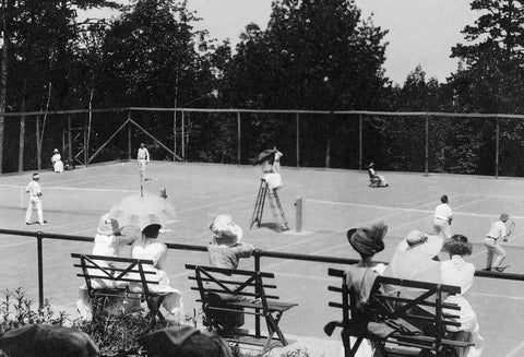 Ladies watching a tennis match at Mohonk Mountain House, 1915