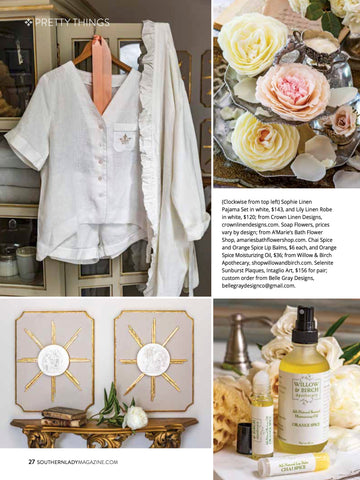 Willow and Birch Apothecary beauty and luxury bath products in Southern Lady Magazine