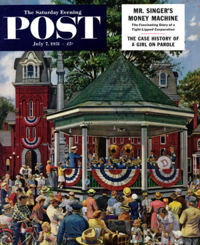 Saturday Evening Post Patriotic Band Concert Stevan Dohanos July 7, 1951 Delhi New York