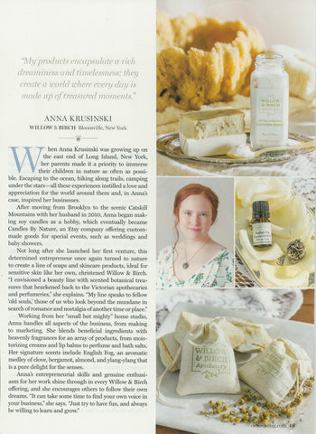 Anna Krusinski of Willow & Birch Apothecary in Victorian magazine Business of Bliss