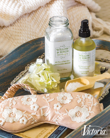 Willow & Birch Apothecary lavender scented beauty gifts and natural skin care products in Bliss Victoria magazine