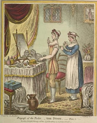 Victorian toilette, The Stays, James Gillray, 1810