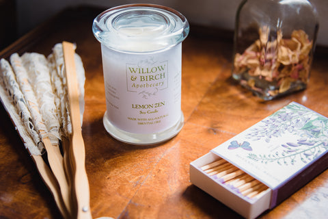 Limited Edition Candle Set by Willow & Birch Apothecary with timeless Victorian-inspired candle scents and vintage-style matchbooks by The Sheep's Nest in Hobart New York