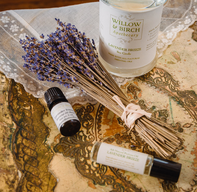 Lavender Breeze scented natural artisan bath, beauty, and fragrance by Willow & Birch Apothecary with lavender bouquet and antique lace, inspired by Downton Abbey and Jane Austen, English cottage and English garden, vintage victorian style for old soul
