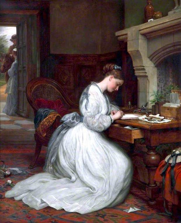 """Yes or No"" by Charles West Cope, 1873 Victorian art painting woman writing letter"