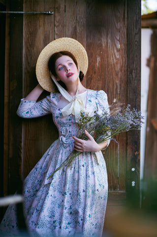 Rebecca Lord, vintage style blogger; Jane Austen inspired scene with English garden flowers, English cottage style
