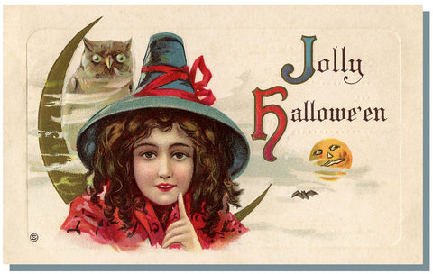 Victorian Halloween All Hallows Eve postcard