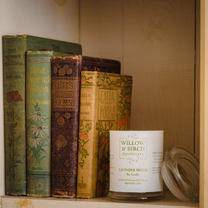 Scented soy candle by Willow & Birch Apothecary on bookshelf with antique books