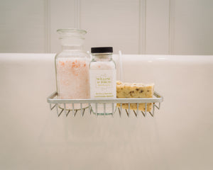 Mineral bath salts, scented epsom bath salts, and natural soap by Willow & Birch Apothecary on antique clawfoot bath-tub