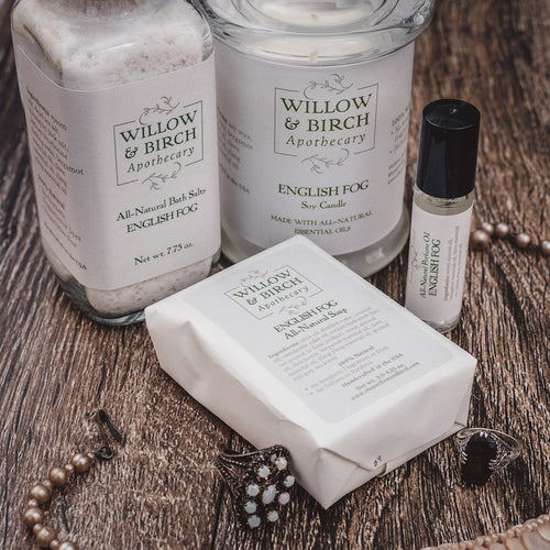 Spa day gift set with natural scented candle, mineral bath salts, scented soap, and essential oil perfume by Willow & Birch Apothecary with antique Victorian style jewelry