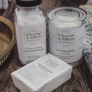 Spa day gift set with natural scented candle, mineral bath salts, and scented soap by Willow & Birch Apothecary with gold vanity tray and antique handkerchief