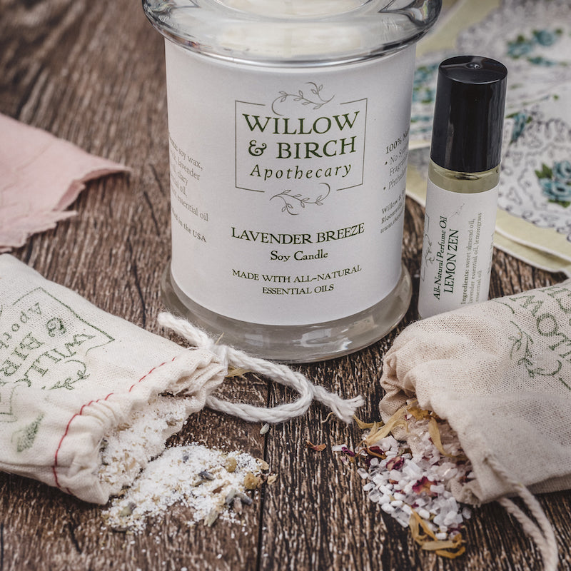 Botanical Bath Set with natural scented soy candle, perfume made with essential oils, and bath tea epsom soak from Willow & Birch Apothecary