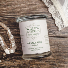 Orange Spice natural scented soy candle made with essential oils from Willow & Birch Apothecary with Victorian antique lace and antique pearl jewelry