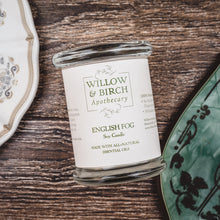 English Fog natural scented soy candle made with essential oils from Willow & Birch Apothecary with antique mirror and Downton Abbey style china plate