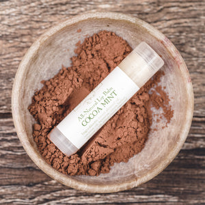 Cocoa Mint naturally flavored moisturizing lip balm from Willow & Birch Apothecary
