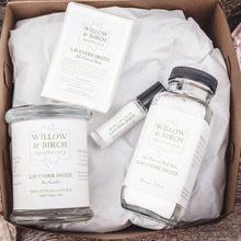 Gift set with natural scented candle, mineral bath salts, scented soap, and essential oil perfume by Willow & Birch Apothecary