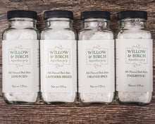 Natural bath salts botanical epsom soak made with essential oils by Willow & Birch Apothecary
