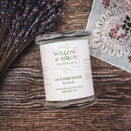 Lavender Breeze natural scented soy candle made with essential oils from Willow & Birch Apothecary
