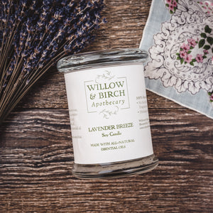 Lavender Breeze natural scented soy candle made with essential oils from Willow & Birch Apothecary with lavender flowers and antique handkerchief